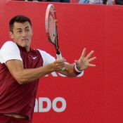 Bernard Tomic in action during his semifinal victory at the Claro Open Colombia; Press Office ATP 250 Claro Open Colombia