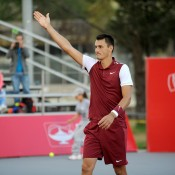 Bernard Tomic celebrates his semifinal victory over Michael Berrer at the Claro Open Colombia in Bogota; Press Office ATP 250 Claro Open Colombia