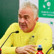 Captain Wally Masur speaks to the press on Day 1 of Australia's Davis Cup quarterfinal tie against Kazakhstan in Darwin; Getty Images