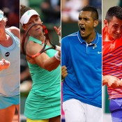 (L-R) Daria Gavrilova, Sam Stosur, Nick Kyrgios and Bernard Tomic will compete at the ATP and WTA Rogers Cup in Canada this week; Getty Images