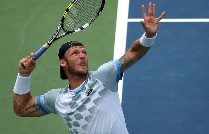 Sam Groth in action during his quarterfinal defeat to Kei Nishikori at the Citi Open in Washington DC; Getty Images