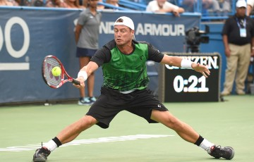 Lleyton Hewitt in action during his first-round win over fellow Aussie John-Patrick Smith at the Citi Open in Washington DC; Getty Images