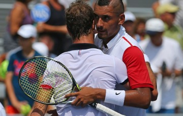 Nick Kyrgios (R) congratulates Richard Gasquet after falling to the Frenchman in the first round of the ATP Cincinnati Masters; Getty Images
