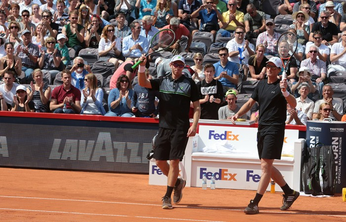 John Peers (L) and Jamie Murray celebrate their ATP Hamburg victory; photo credit BET-AT-HOME OPEN