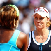 Sam caused another huge upset in the next round after beating Henin, saving a match point to oust world No.1 Serena Williams in the quarterfinals at Roland Garros in 2010. She would go on to reach her first Grand Slam final before falling to Francesca Schiavone; Getty Images