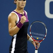 Sam celebrates a point during her epic three hour, 16 minute victory over Nadia Petrova in the third round of the 2011 US Open, the longest ever women's match at Flushing Meadows; Getty Images