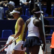 Sam Stosur (L) and Sloane Stephens contest their semifinal match at the WTA Internationaux de Strasbourg; photo credit Chryslène Caillaud
