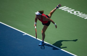 Sam Stosur serves during her second-round win over Irina Falconi at the Citi Open in Washington DC; photo credit Peter Staples/Citi Open