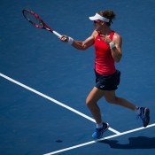 Sam Stosur plays a forehand during her second-round win over Irina Falconi at the Citi Open in Washington DC; photo credit Peter Staples/Citi Open