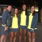 Australia's Junior Fed Cup team of (L-R) captain Rohan Fisher, Seone Mendez, Destanee Aiava and Jaimee Fourlis; Tennis Australia