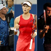 As Lleyton Hewitt (L) bid farewell to the US Open, Sam Stosur (centre) and Bernard Tomic (R) were the best performed Aussies, reaching the fourth and third rounds respectively; Getty Images