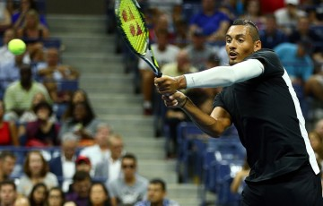 Nick Kyrgios took to Arthur Ashe Stadium under lights against third seed Andy Murray in the first round, and pushed the Scot to four sets before going down; Getty Images