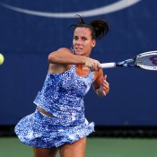 Jarmila Gajdosova battled hard before falling in three sets to No.26 Flavia Pennetta in the first round; Getty Images