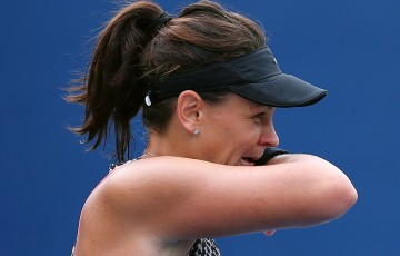 Casey Dellacqua in action during her first-round US Open loss to Anett Kontaveit; Getty Images