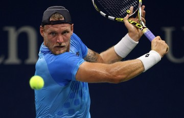 Sam Groth plays a backhand during his first round victory over Alexandr Dolgopolov at the US Open; Getty Images