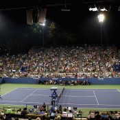 A view over Grandstand during the second-round US Open match between Bernard Tomic and Lleyton Hewitt; Getty Images