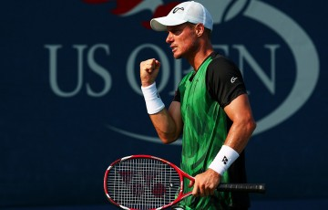 Lleyton Hewitt in action during his first-round win over Aleksandr Nedovyesov at the US Open; Getty Images