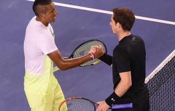 Nick Kyrgios (L) shakes hands with Andy Murray after their Australian Open 2015 quarterfinal; Getty Images