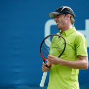 John Millman in action during his first-round US Open loss to Sergiy Stakhovsky; Getty Images