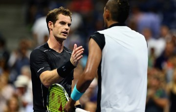 Andy Murray (L) shakes hands with Nick Kyrgios after winning their first-round match at the US Open; Getty Images