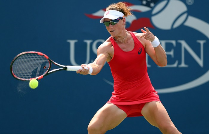 Sam Stosur in action during her second-round win over Evgeniya Rodina at the US Open; Getty Images