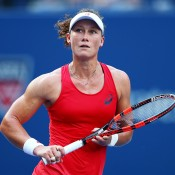 Sam Stosur in action against during her loss to Flavia Pennetta in the US Open fourth round; Getty Images