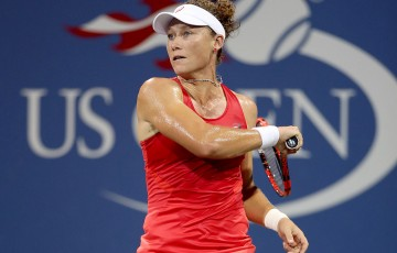 Sam Stosur plays a forehand en route to victory over Timea Babos in the first round of the US Open; Getty Images