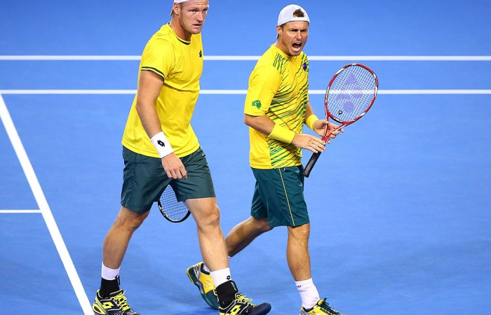 Lleyton Hewitt and Sam Groth were beaten in five tight sets. Photo: Getty Images