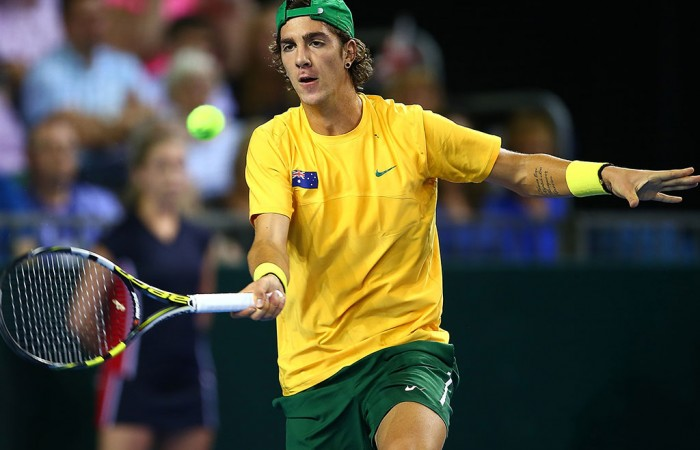 Thanasi Kokkinakis in action against Andy Murray. Photo: Getty Images