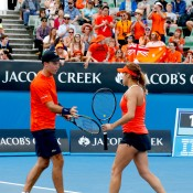 The winners of Tennis Australia's national Win a Wildcard mixed doubles competition, Victorian pair Masa Jovanovic and Sam Thompson, played Martina Hingis and Leander Paes on day 7 of Australian Open 2015.