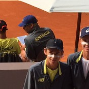 Australia's Junior Davis Cup team of (front L-R) Alex De Minaur and Blake Ellis and (back L-R) Alexei Popyrin and captain Ben Pyne at the competition finals in Madrid, Spain; Tennis Australia