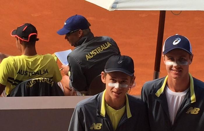 Australia's Junior Davis Cup team of (front L-R) Alex De Minaur and Blake Ellis and (back L-R) Alexei Popyrin and captain Ben Pyne at the competition finals in Madrid, Spain; Tennis Australia