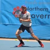Maverick Banes in action at the Alice Springs Tennis International; Tennis Australia
