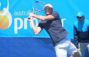 Matthew Barton in action during the Latrobe City Traralgon ATP Challenger; Tennis Australia