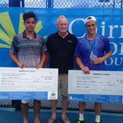 Alex Bolt (L) and Finn Tearney (R) pose with their cheques following the Cairns Tennis International final; Tennis Australia