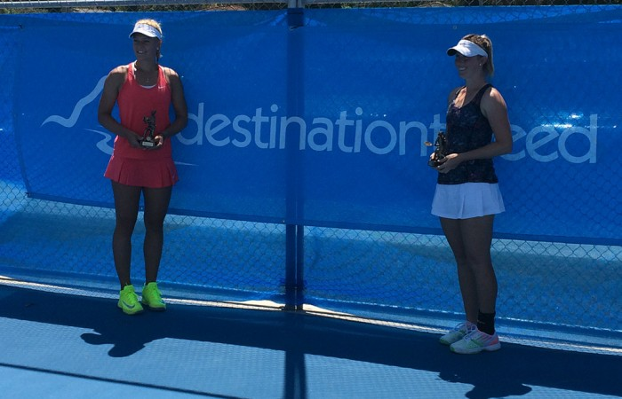 Dalma Galfi (L) and Storm Sanders pose with their trophies after the final of the Tweed Heads Tennis International Pro Tour event; Tennis Australia
