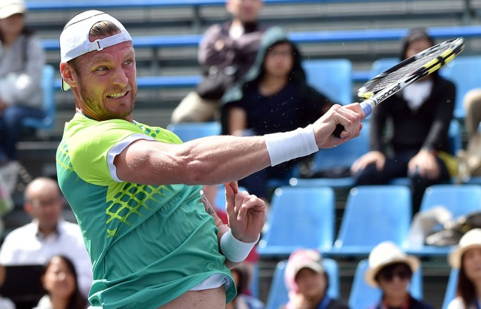 Sam Groth in action against Jeremy Chardy during the first round of the ATP Rakuten Japan Open Tennis Championships in Tokyo; Getty Images