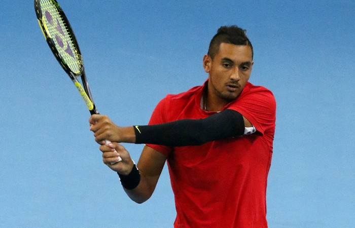 Nick Kyrgios in action during his quarterfinal victory over Ivo Karlovic at the ATP Malaysian Open; Getty Images