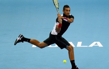 Nick Kyrgios in action during his semifinal loss to Feliciano Lopez at the ATP Malaysian Open; Getty Images