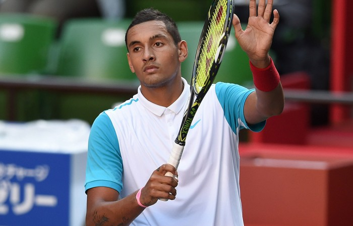 Nick Kyrgios waves to the crowd after winning his second round match in Tokyo over Roberto Bautista Agut; Getty Images