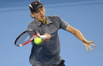 John Millman in action during his second-round loss to John Isner at the China Open in Beijing; Getty Images