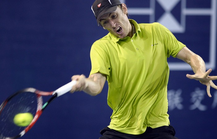 John Millman in action during his second-round loss to No.2 seed Marin Cilic at the ATP Shenzhen Open; Getty Images