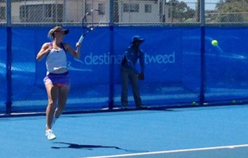 Storm Sanders in action during her quarterfinal victory at the Tweed Heads Tennis International; Tennis Australia