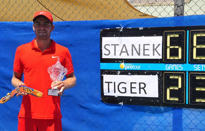 Robin Stanek poses with the trophy after winning the Alice Springs Tennis International; Tennis Australia