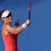 Sam Stosur in action during her quarterfinal victory over Heather Watson at the WTA Hong Kong Tennis Open; Getty Images