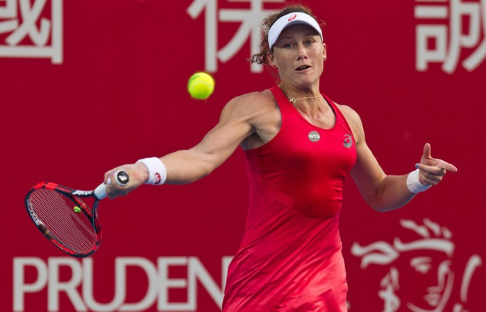 Sam Stosur plays a forehand during her second-round win over Monica Puig at the Hong Kong Tennis Open; Getty Images