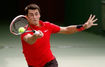 Bernard Tomic in action during his second-round win over David Ferrer at the Shanghai Rolex Masters; Getty Images