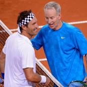 Pat Cash (L) and John McEnroe; Getty Images