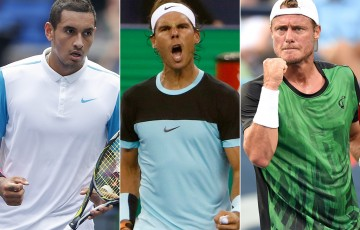 Rafael Nadal (centre) will be joined by Nick Kyrgios (L) and Lleyton Hewitt for a FAST4 teams event at Allphones Arena in Sydney; Getty Images