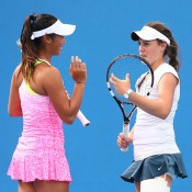 Priscilla Hon (L) and Kimberly Birrell in doubles action at Australian Open 2015; Getty Images